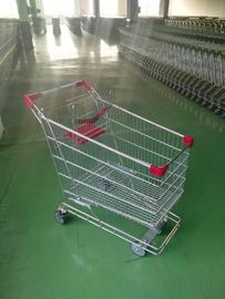 Chiny 165L australian Supermarket Shopping Trolley with 4 swivel flat grey TPE casters fabryka