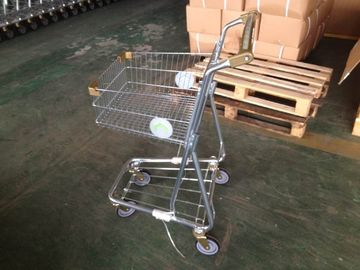 Chiny 40L Steel single basket Shopping cart with two sides round steel plate logo fabryka