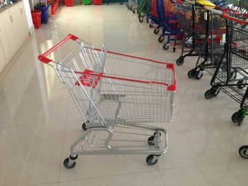 Chiny 100L Supermarket Shopping Cart Trolley with 4 swivel flat casters and bottom tray fabryka