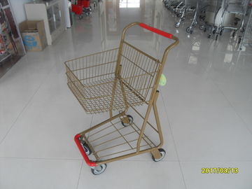 Chiny Supermarket 40 L Singel Basket Metal Shopping Cart With Wheels And Front Bumper fabryka