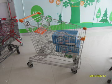 Chiny Asian Style 180L Supermaket Wire Shopping Trolley Cart With orange plastic parts SGS TUC fabryka